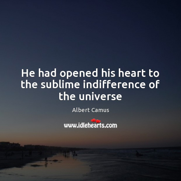 Image, He had opened his heart to the sublime indifference of the universe