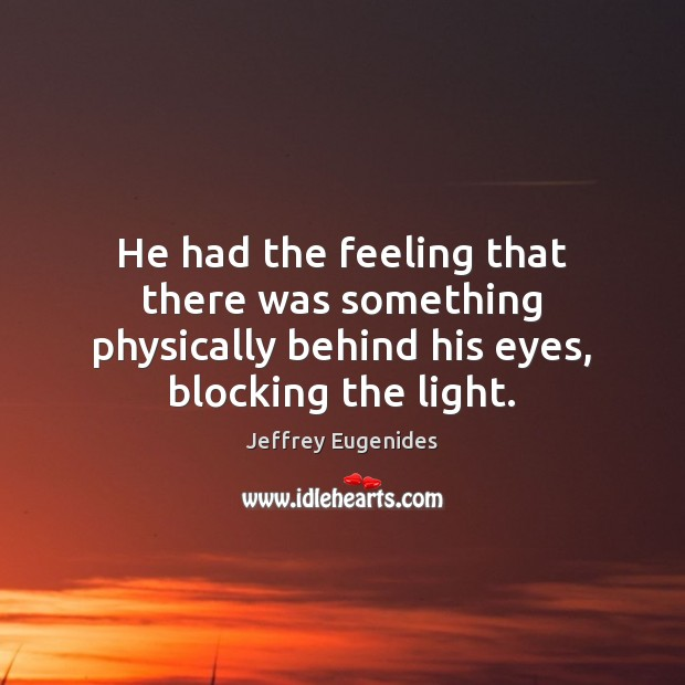 Image, He had the feeling that there was something physically behind his eyes,