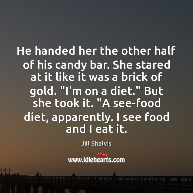 Image, He handed her the other half of his candy bar. She stared