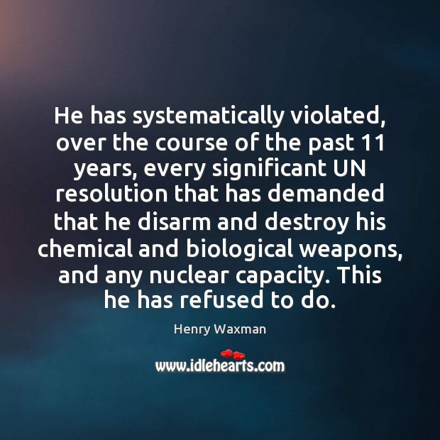 He has systematically violated, over the course of the past 11 years, every Image