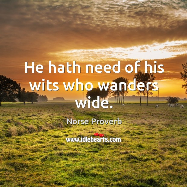 He hath need of his wits who wanders wide. Norse Proverbs Image