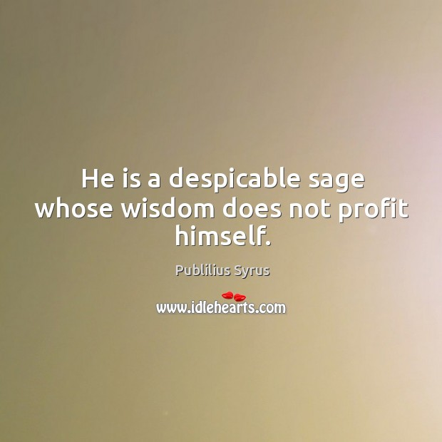 Image, He is a despicable sage whose wisdom does not profit himself.