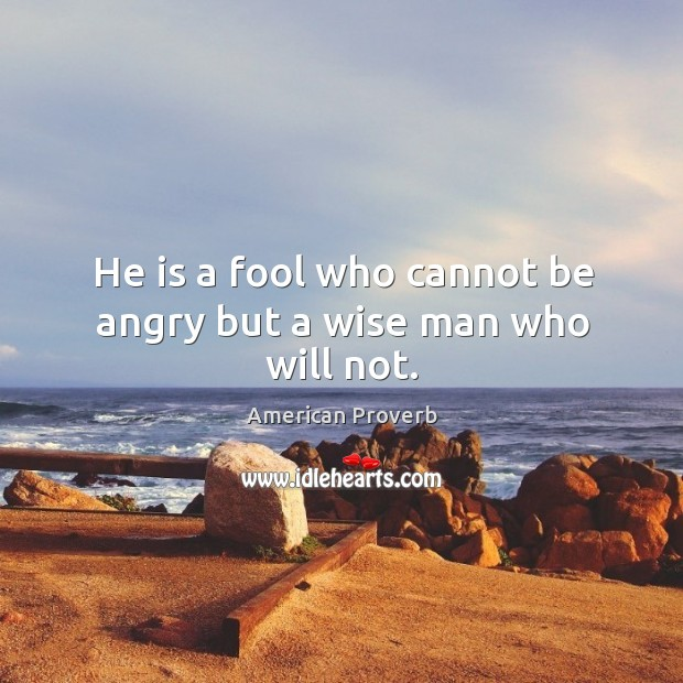 Image, He is a fool who cannot be angry but a wise man who will not.