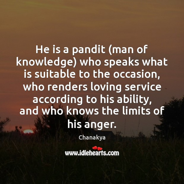 He is a pandit (man of knowledge) who speaks what is suitable Image