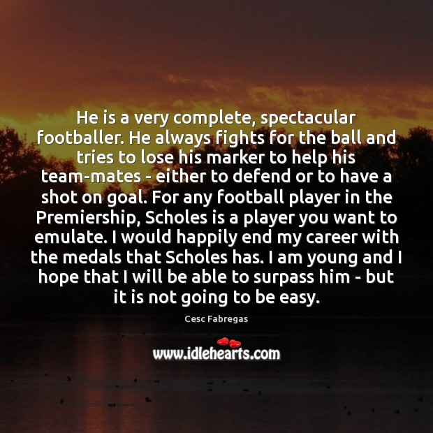 He is a very complete, spectacular footballer. He always fights for the Cesc Fabregas Picture Quote