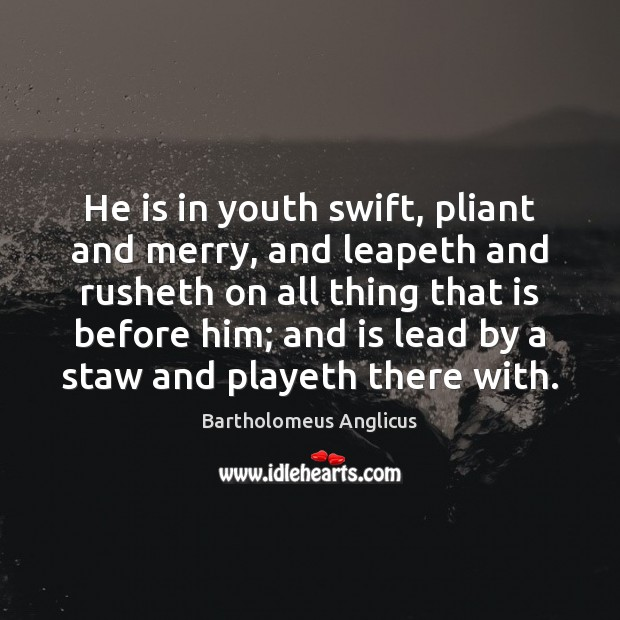 Image, He is in youth swift, pliant and merry, and leapeth and rusheth