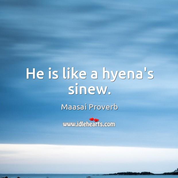 He is like a hyena's sinew. Maasai Proverbs Image