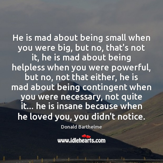 He is mad about being small when you were big, but no, Donald Barthelme Picture Quote