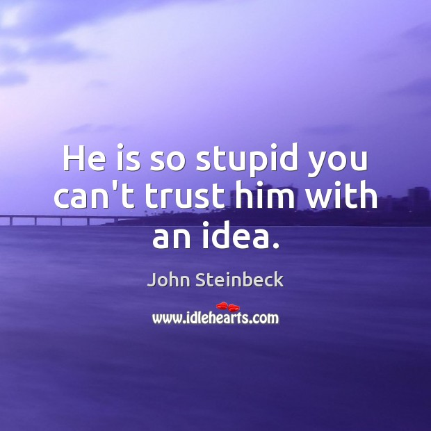 He is so stupid you can't trust him with an idea. Image