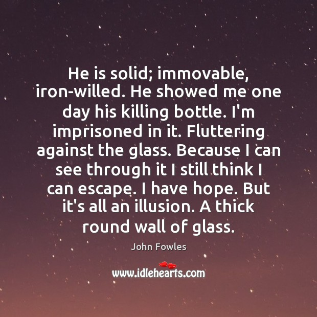 He is solid; immovable, iron-willed. He showed me one day his killing John Fowles Picture Quote