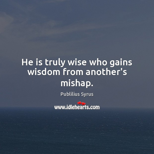 He is truly wise who gains wisdom from another's mishap. Publilius Syrus Picture Quote