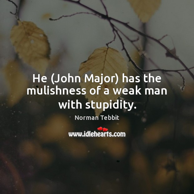 He (John Major) has the mulishness of a weak man with stupidity. Norman Tebbit Picture Quote