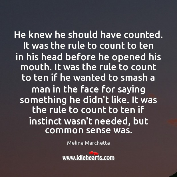 He knew he should have counted. It was the rule to count Melina Marchetta Picture Quote