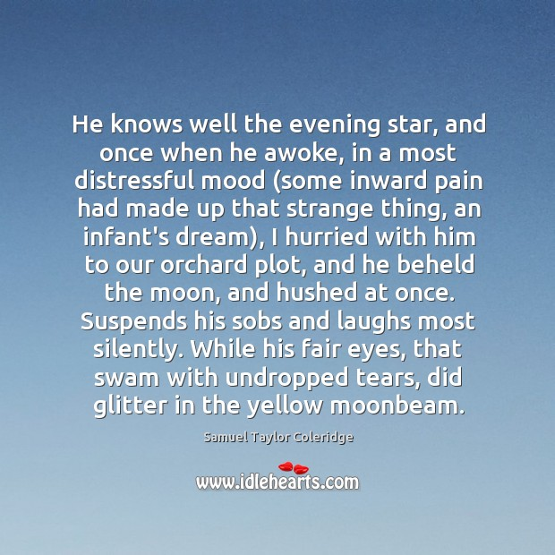 He knows well the evening star, and once when he awoke, in Image