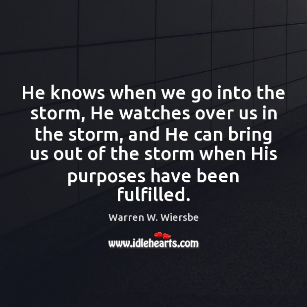 Image, He knows when we go into the storm, He watches over us