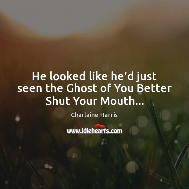 He looked like he'd just seen the Ghost of You Better Shut Your Mouth… Charlaine Harris Picture Quote