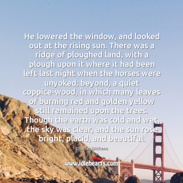 He lowered the window, and looked out at the rising sun. There Image