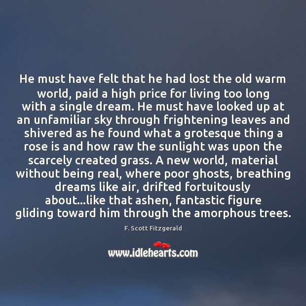 He must have felt that he had lost the old warm world, F. Scott Fitzgerald Picture Quote