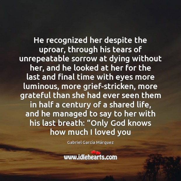 He recognized her despite the uproar, through his tears of unrepeatable sorrow Image