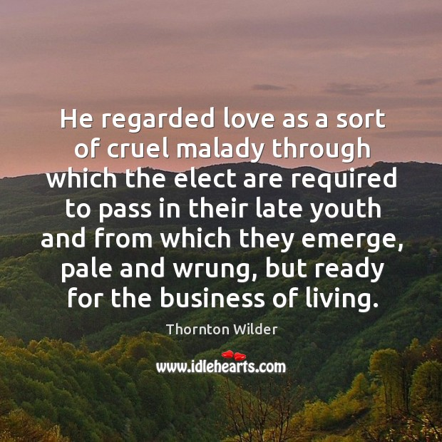 He regarded love as a sort of cruel malady through which the Image