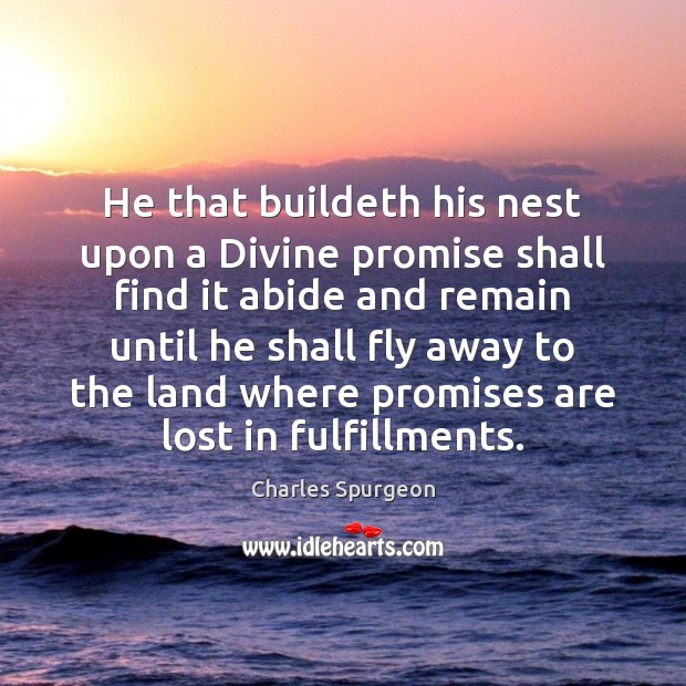 He that buildeth his nest upon a Divine promise shall find it Charles Spurgeon Picture Quote