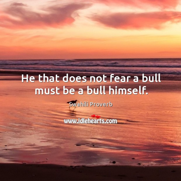 He that does not fear a bull must be a bull himself. Swahili Proverbs Image
