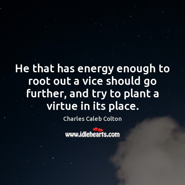 He that has energy enough to root out a vice should go Image