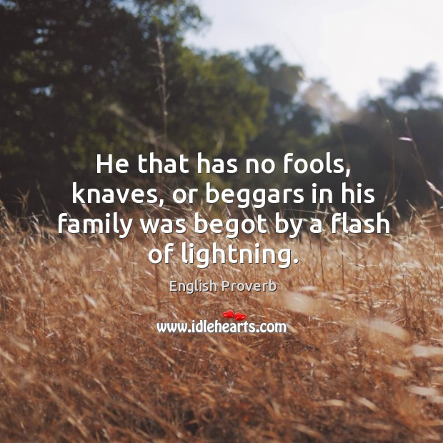 He that has no fools, knaves, or beggars in his family was begot by a flash of lightning. English Proverbs Image