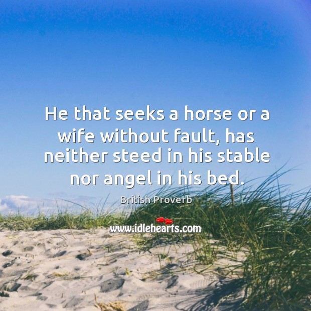 He that seeks a horse or a wife without fault, has neither steed in his stable nor angel in his bed. British Proverbs Image