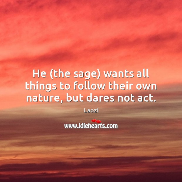 He (the sage) wants all things to follow their own nature, but dares not act. Image