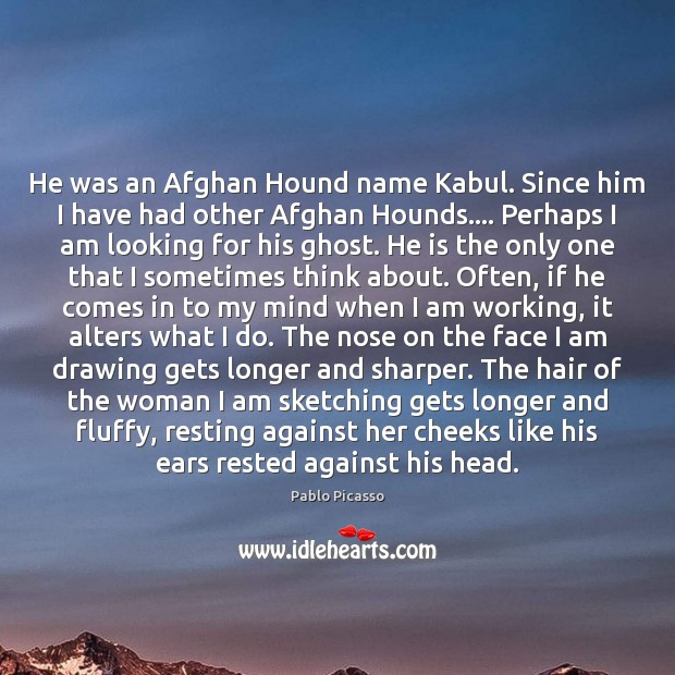 He was an Afghan Hound name Kabul. Since him I have had Pablo Picasso Picture Quote