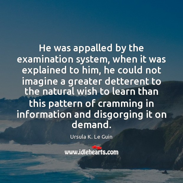 He was appalled by the examination system, when it was explained to Ursula K. Le Guin Picture Quote