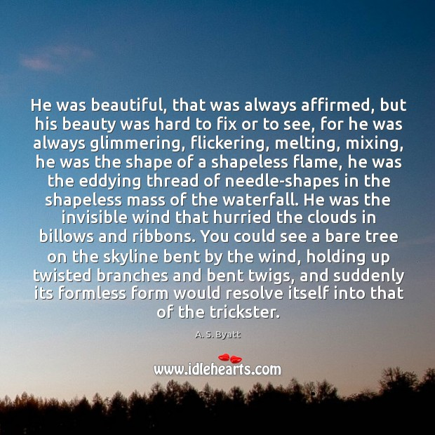 Image, He was beautiful, that was always affirmed, but his beauty was hard