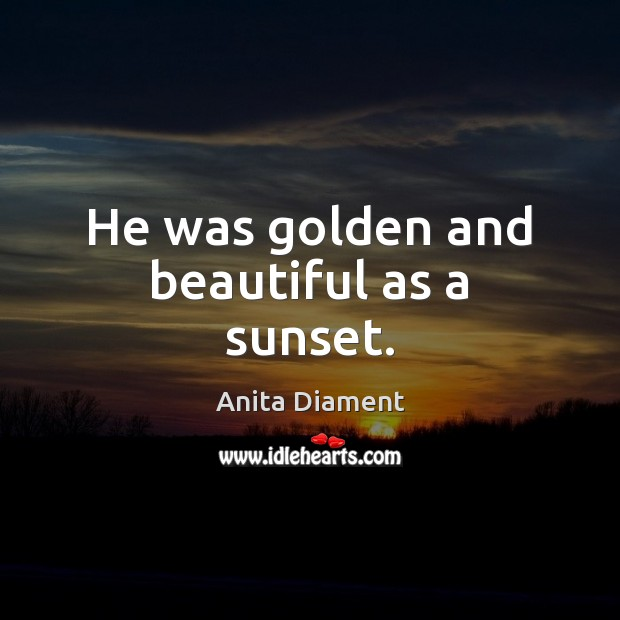 Image, He was golden and beautiful as a sunset.