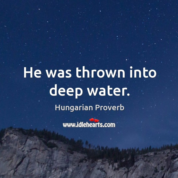 He was thrown into deep water. Hungarian Proverbs Image
