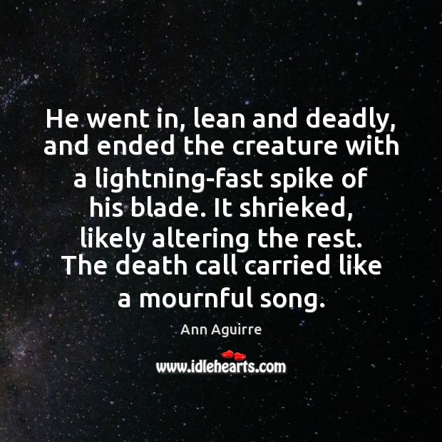 He went in, lean and deadly, and ended the creature with a Ann Aguirre Picture Quote