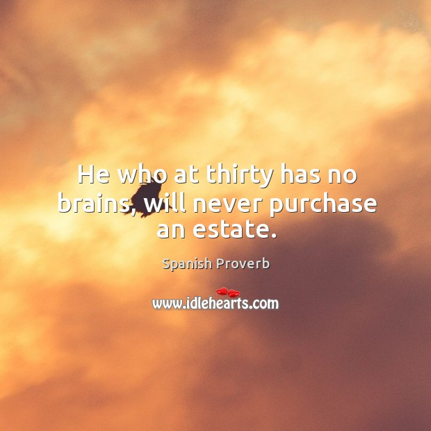 He who at thirty has no brains, will never purchase an estate. Image