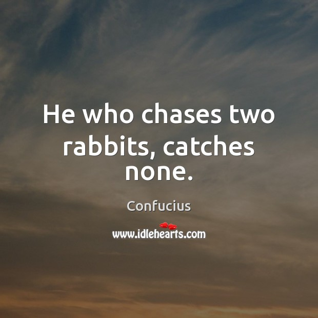 Image, He who chases two rabbits, catches none.
