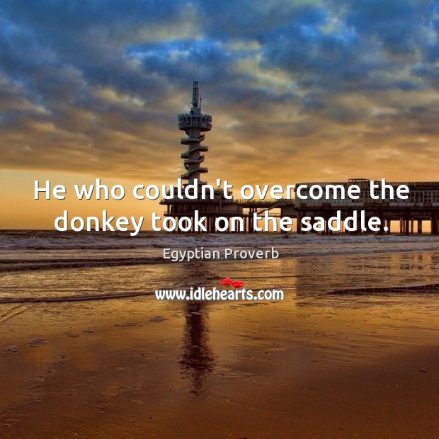 He who couldn't overcome the donkey took on the saddle. Egyptian Proverbs Image
