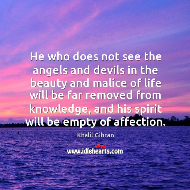 Image, He who does not see the angels and devils in the beauty and malice of life will be.