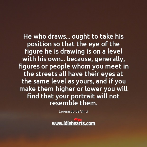 He who draws… ought to take his position so that the eye Image