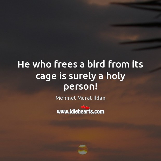 Image, He who frees a bird from its cage is surely a holy person!