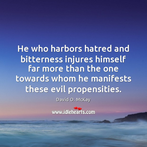 He who harbors hatred and bitterness injures himself far more than the David O. McKay Picture Quote