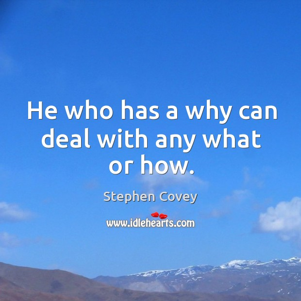 He who has a why can deal with any what or how. Image