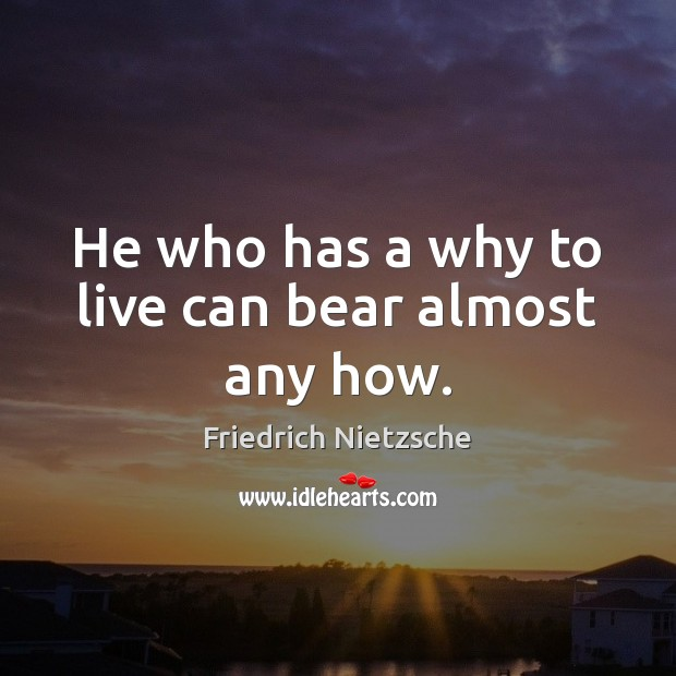 Image, He who has a why to live can bear almost any how.