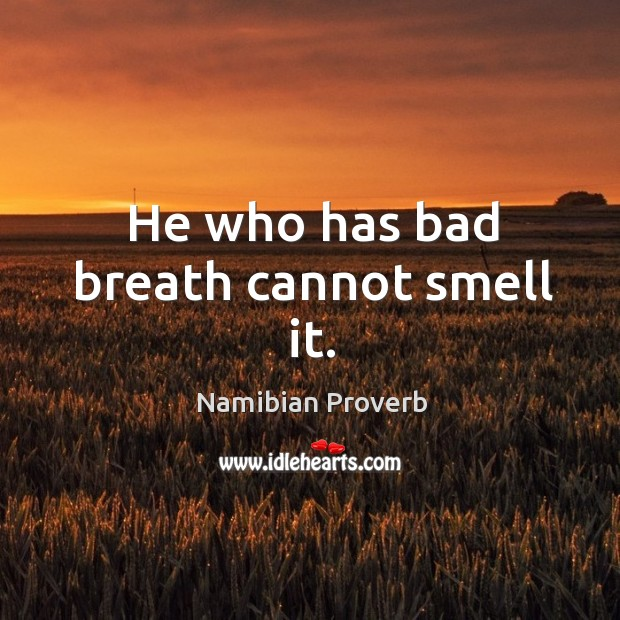 He who has bad breath cannot smell it. Namibian Proverbs Image