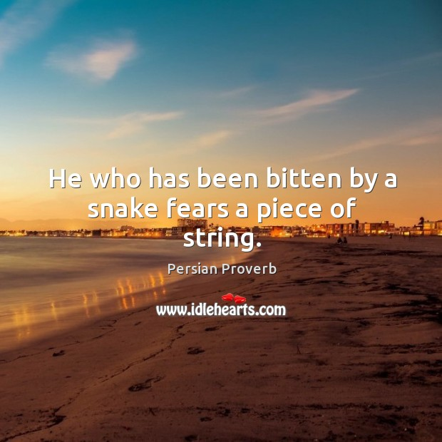He who has been bitten by a snake fears a piece of string. Persian Proverbs Image
