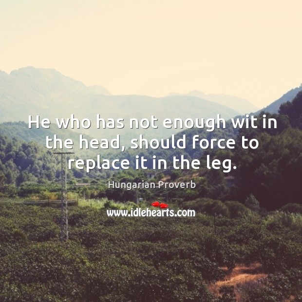 Image, He who has not enough wit in the head, should force to replace it in the leg.