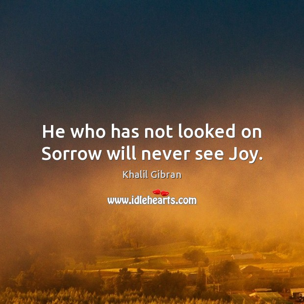 Image, He who has not looked on Sorrow will never see Joy.