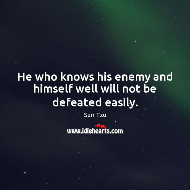 He who knows his enemy and himself well will not be defeated easily. Image